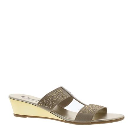Beige Wedge Slip-On Diamonte Sandals - Cham