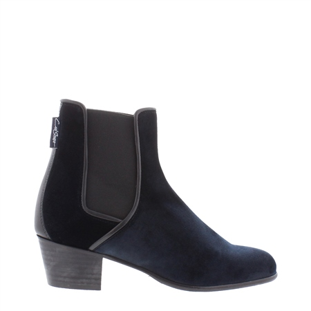 Navy Low Heel Chelsea Ankle Boots - Claudia  - Click to view a larger image