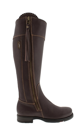 Slim Fit Brown Waterproof Country Knee Boots - Natasha  - Click to view a larger image