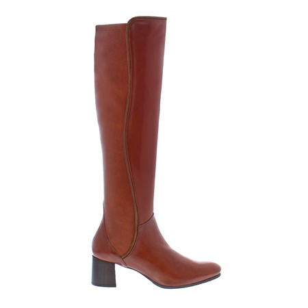 Ella Cognac Mid Heel Knee Boots
