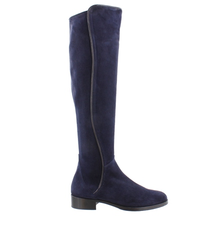 Navy Flat Knee Boots - Emma  - Click to view a larger image