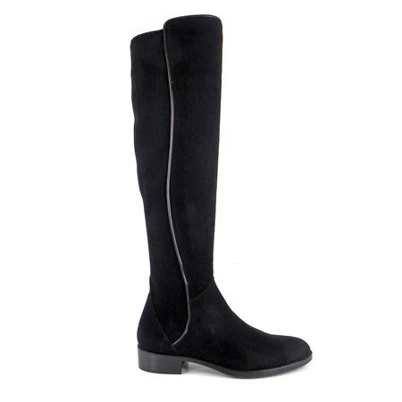Emma Black Suede Knee-High Boots  - Click to view a larger image