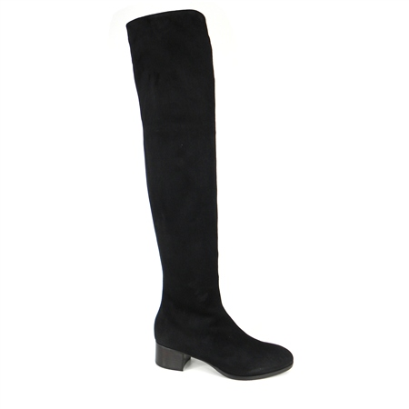 Black Mid Heel Over-The-Knee Boots - Evelina  - Click to view a larger image