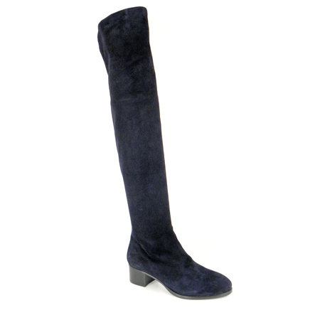 Navy Mid Heel Over-The-Knee Boots - Evelina  - Click to view a larger image