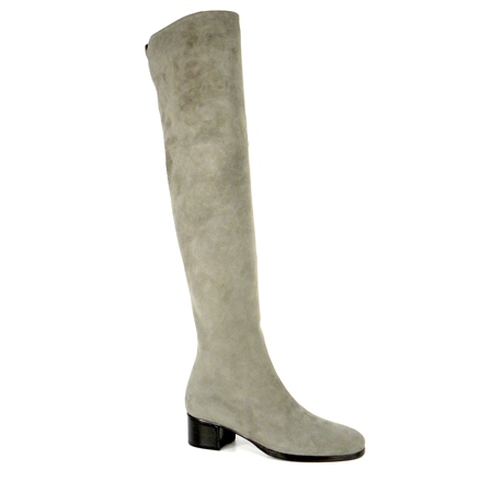 Grey Mid Heel Over-The-Knee Boots - Evelina  - Click to view a larger image