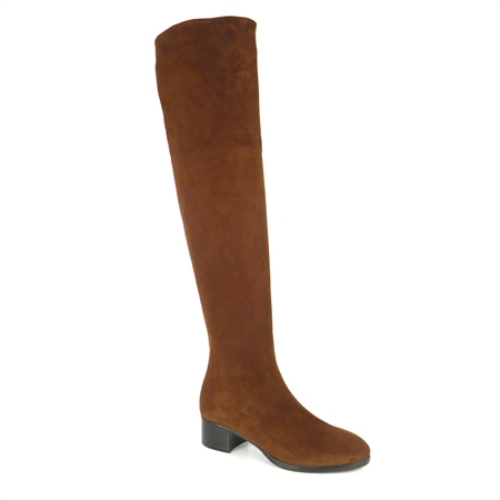 Brown Mid Heel Over-The-Knee Boots - Evelina  - Click to view a larger image