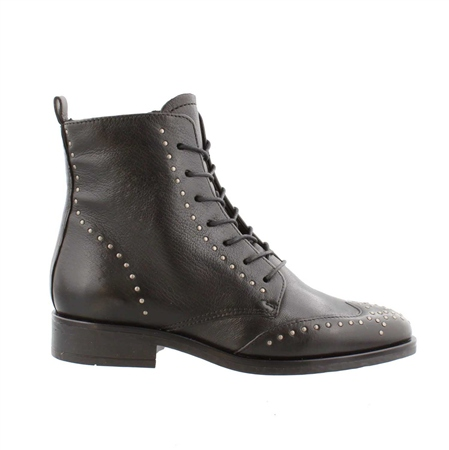 Black Flat Lace Up Studded Ankle Boots - Adelaide  - Click to view a larger image