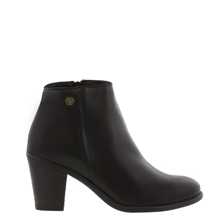 Indiana Black Mid Heel Ankle Boots