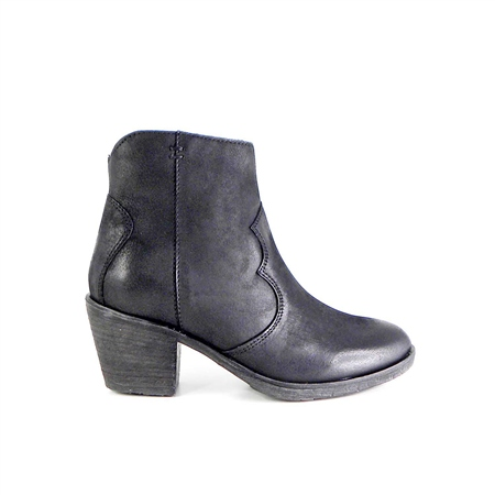 Black Mid Heel Western Ankle Boots - Janina  - Click to view a larger image