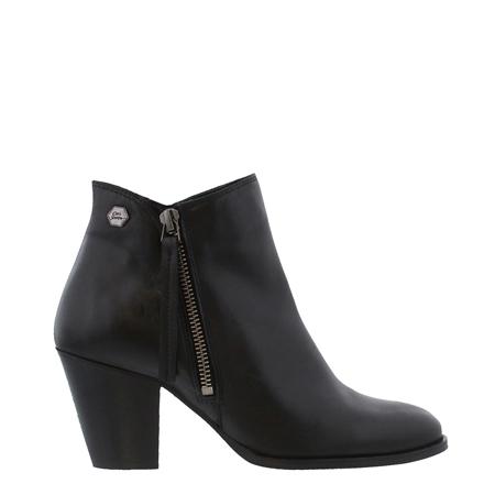 Laura Black Mid Heel Ankle Boots