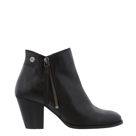 Black Mid Heel Ankle Boots - Laura  - Click to view a larger image