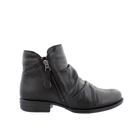 Black Flat Ruched Ankle Boots - Linda  - Click to view a larger image