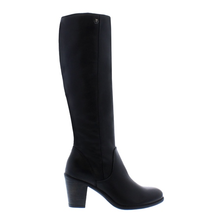 Loren Black Mid-Block Heel Knee Boots  - Click to view a larger image