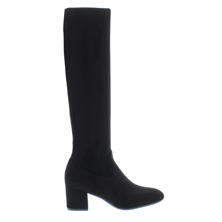 Salma Black Mid-Block Heel Knee Boots  - Click to view a larger image