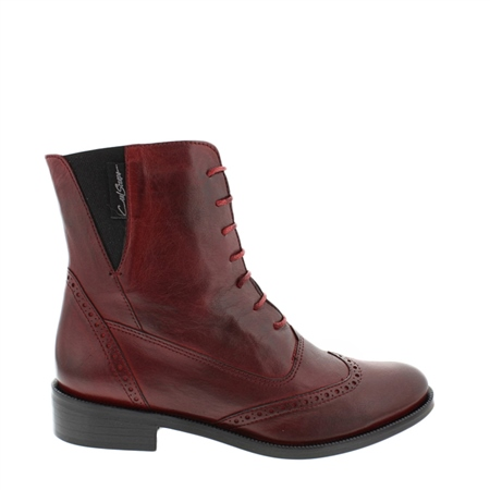 Ingrid Red Lace Up Brogue Leather Ankle Boots