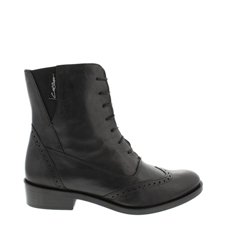 Black Lace Up Brogue Ankle Boots - Ingrid