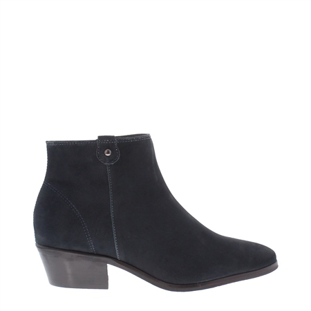 Navy Low Heel Suede Ankle Boots - Serena  - Click to view a larger image