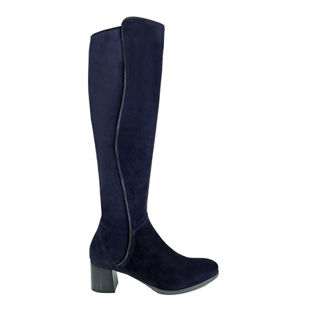Ella Navy Mid Heel Knee Boots  - Click to view a larger image