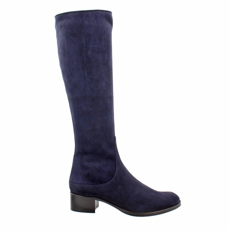 Navy Mid Heel Knee Boots - Eliza  - Click to view a larger image