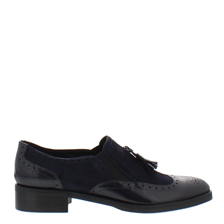 Navy Slip-On Brogue Tassel Loafers - Otavia  - Click to view a larger image