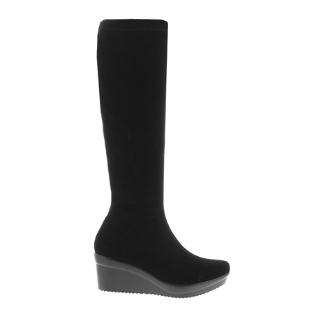 Black Wedge Knee Boots - Luce  - Click to view a larger image