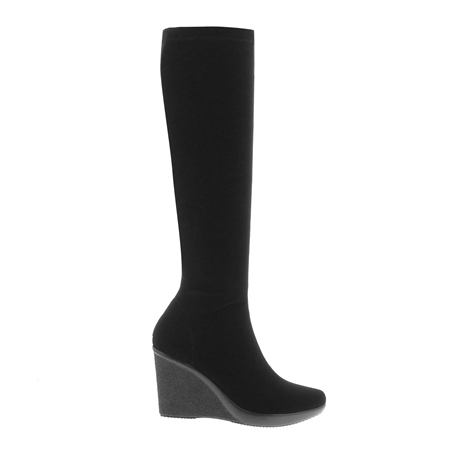 Black Platform Wedge Knee Boots - Lucia  - Click to view a larger image