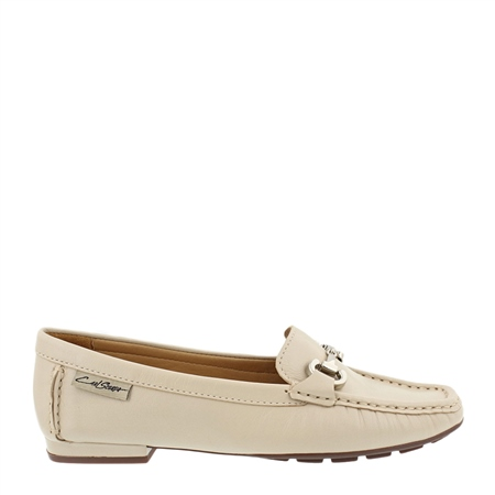 Beila Beige Snaffle Leather Loafers   - Click to view a larger image