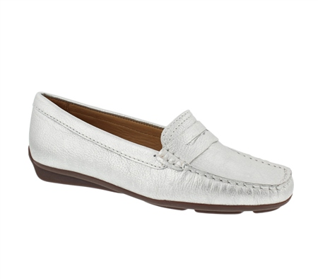 Silver Slip-On Loafers - Bettina  - Click to view a larger image
