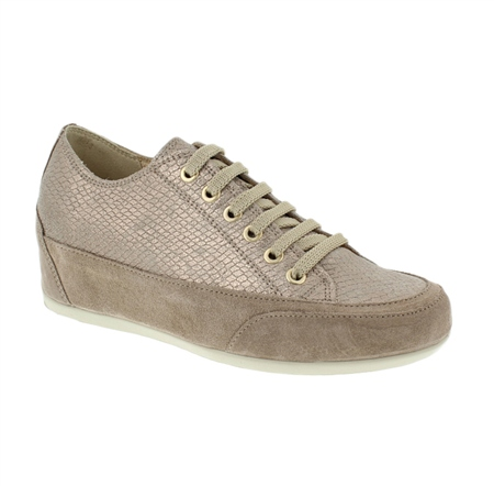 Beige Metallic Lace Up Flatform - Niccie  - Click to view a larger image