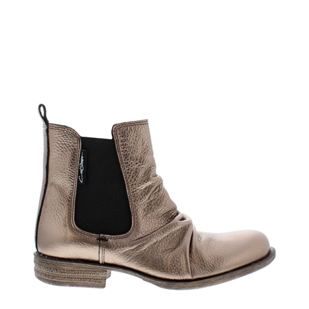 Pewter Ruched Chelsea Ankle Boots - Cavalina  - Click to view a larger image