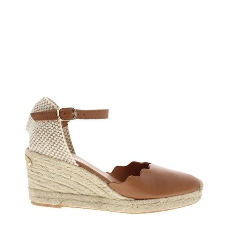 Brittany Cognac Espadrille Wedge Sandals  - Click to view a larger image