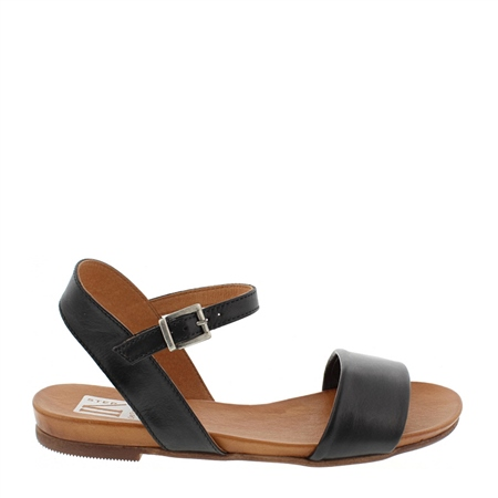 Tianna Black Leather Sandals