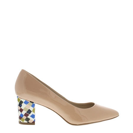 Priscilla Nude Block Heel Court Shoes  - Click to view a larger image