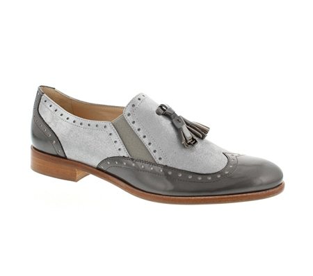 Light Grey Slip-On Brogue Tassel Loafers - Otavia  - Click to view a larger image