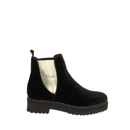 Reese Black Velvet Ankle Boot  - Click to view a larger image