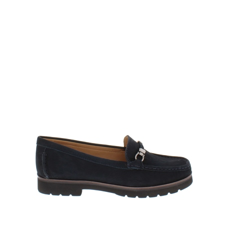 Andria Navy Leather Loafers  - Click to view a larger image