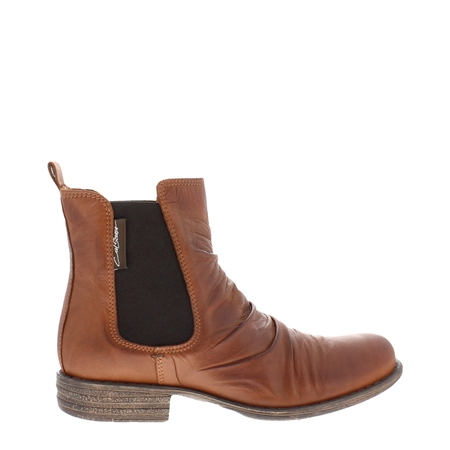 Cavalina Tan Ruched Chelsea Ankle Boots  - Click to view a larger image