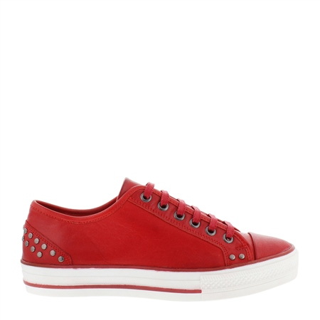 Carlotta Red Lace Up Trainers  - Click to view a larger image