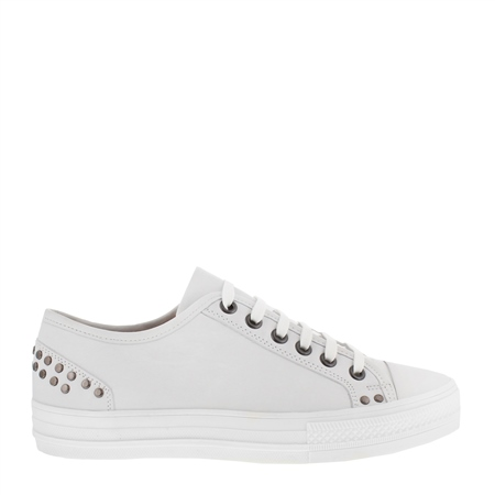 Carlotta White Lace Up Trainers  - Click to view a larger image