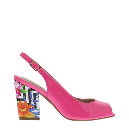 Primo Fuchsia Pink Block Heel Courts  - Click to view a larger image