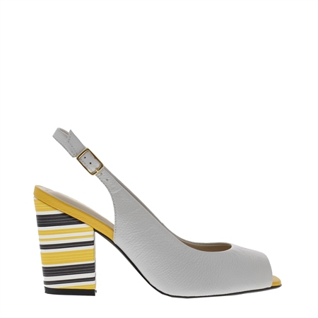 Primo Grey Block Heel Courts  - Click to view a larger image