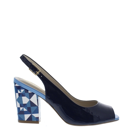 Primo Navy Block Heel Courts  - Click to view a larger image