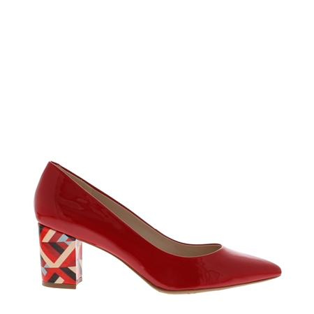Priscilla Red Block Heel Court Shoes  - Click to view a larger image