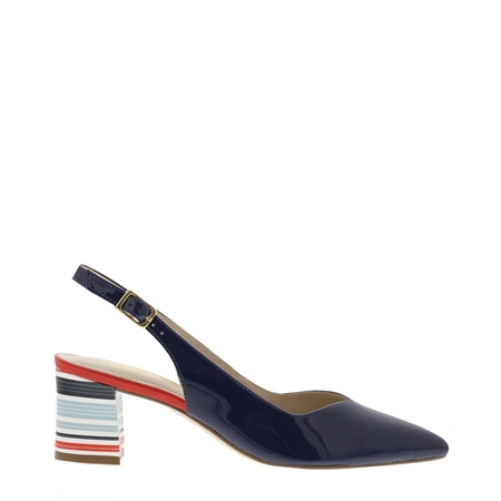 Reinette Nautical Navy Mid Heel Court Shoes  - Click to view a larger image