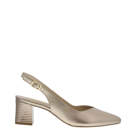Reinette Pewter Metallic Heel Court Shoes  - Click to view a larger image