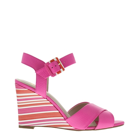 Roselie Fuschia Pink Wedge Sandals  - Click to view a larger image