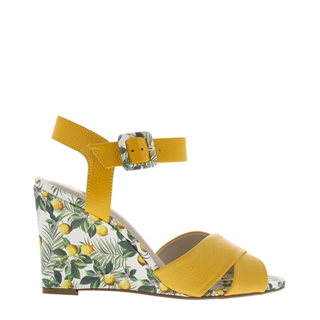 Roselie Lemon Yellow Wedge Sandals  - Click to view a larger image