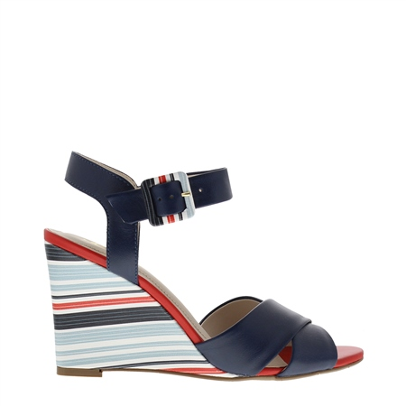 Roselie Nautical Navy Wedge Sandals  - Click to view a larger image
