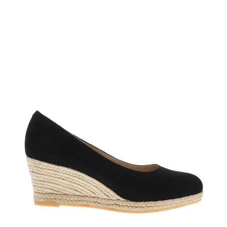 Valeria Black Suede Espadrille Courts  - Click to view a larger image