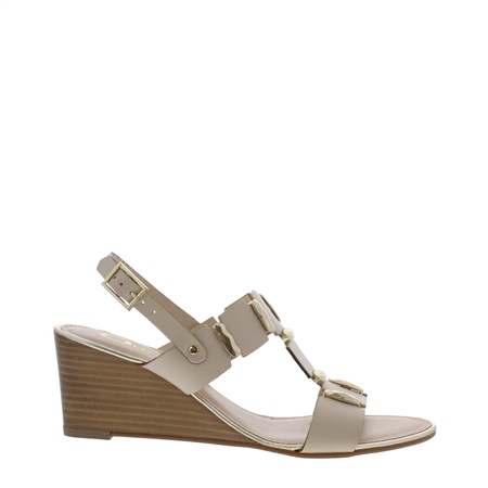 Esperanza Beige Wedge Sandals  - Click to view a larger image